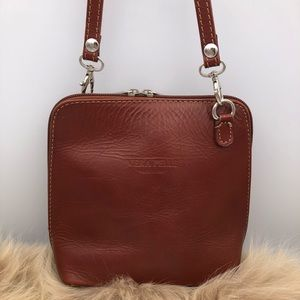 Vera Pelle Italian Leather Crossbody Bag Small